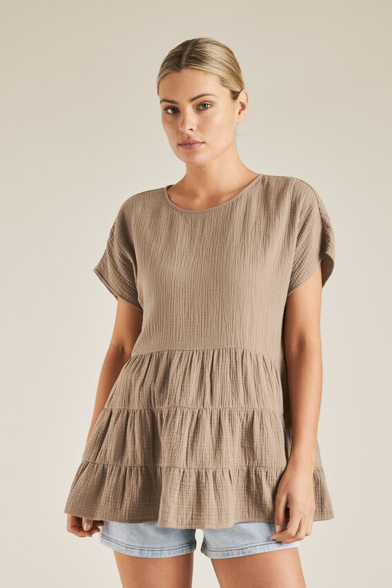 Tiered Cheesecloth Top  DONKEY  hi-res