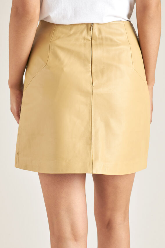 Leather Mini Skirt  FAWN  hi-res