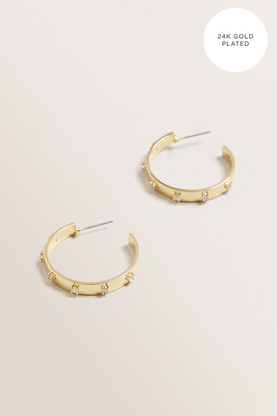 Fine Large Diamante Hoops  GOLD  hi-res