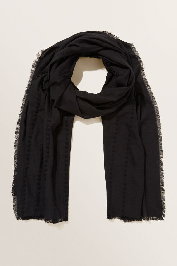 Textured Stripe Scarf  BLACK  hi-res