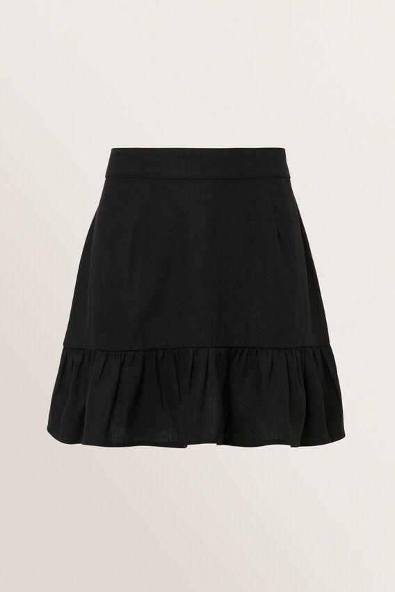 Linen Skirt  BLACK  hi-res