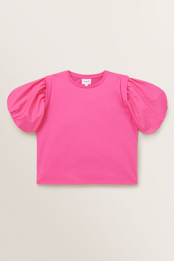 Spliced Puff Sleeve Top  FUCHSIA  hi-res