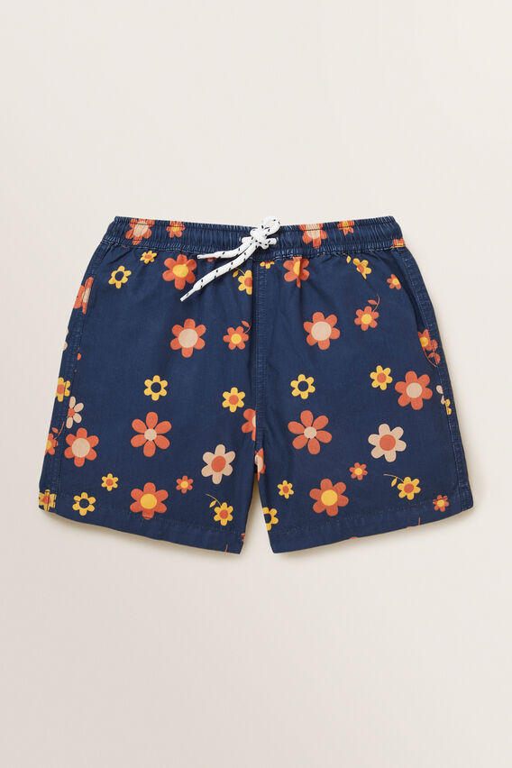 Retro Floral Boardshort  MIDNIGHT BLUE  hi-res
