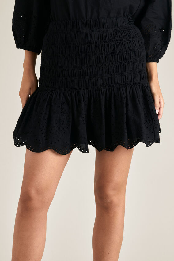 Broderie Hem Mini Skirt  BLACK  hi-res
