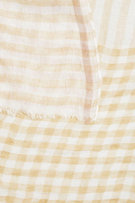 Linen Check Scarf  FAWN  hi-res