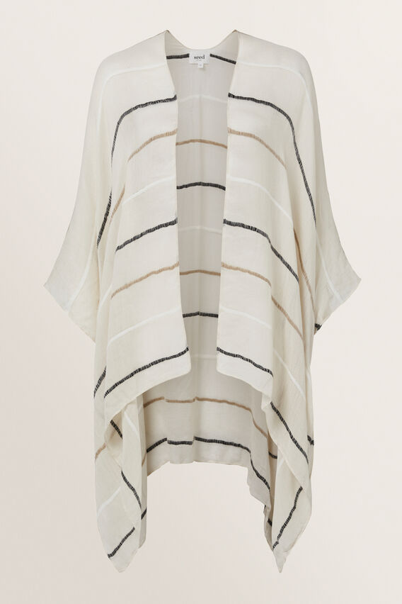 Stripe Poncho  CREAM STRIPE  hi-res