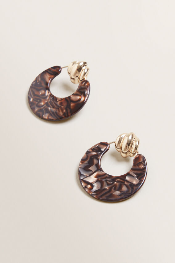 Door Knocker Resin Earrings  BROWN  hi-res