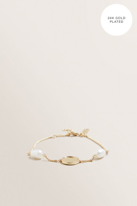 Fine Pearl Disc Bracelet  GOLD  hi-res