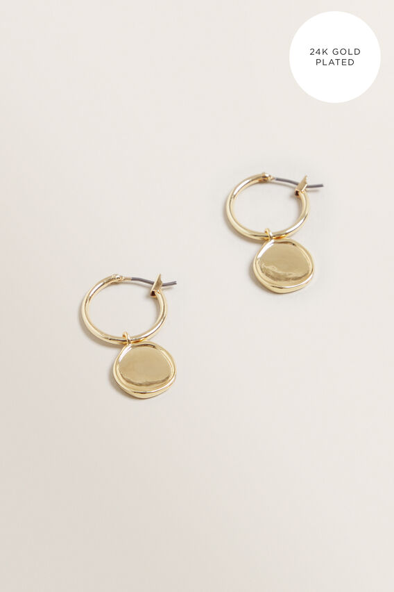 Fine Coin Pendant Hoops  GOLD  hi-res