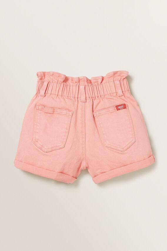 Paperbag Denim Shorts  PEACHY PINK  hi-res