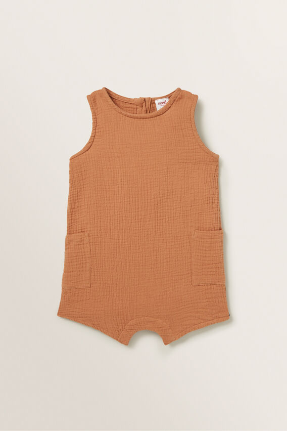 Cheesecloth Pocket Romper  TOFFEE  hi-res