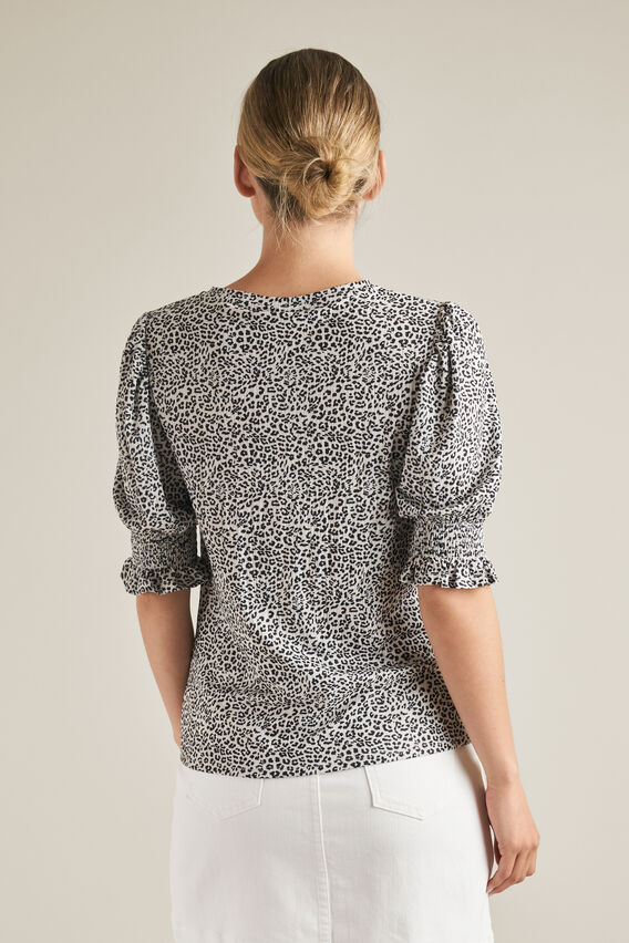 Shirred Sleeve Top  OCELOT  hi-res