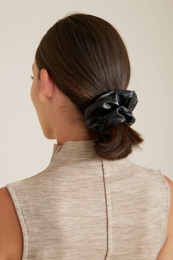 Faux Leather Scrunchie  BLACK  hi-res
