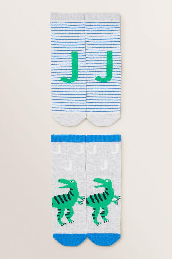 Dinosaur Initial Sock 2 Pack  J  hi-res
