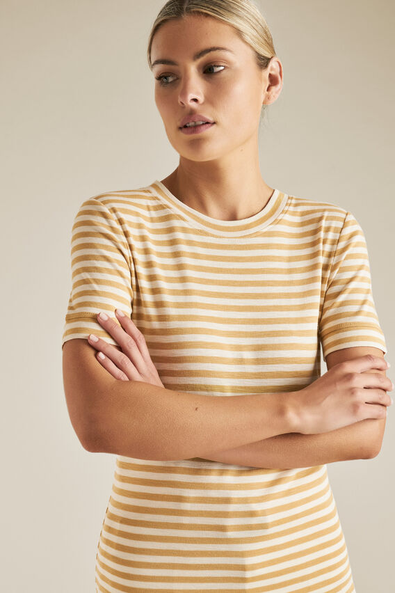 Fitted Tee  FAWN STRIPE  hi-res