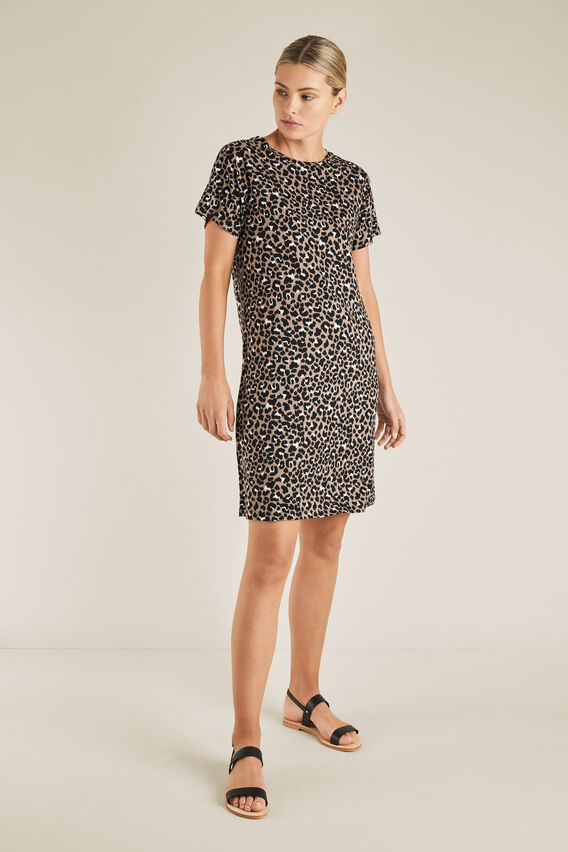 Animal Print Tee Dress  OCELOT  hi-res