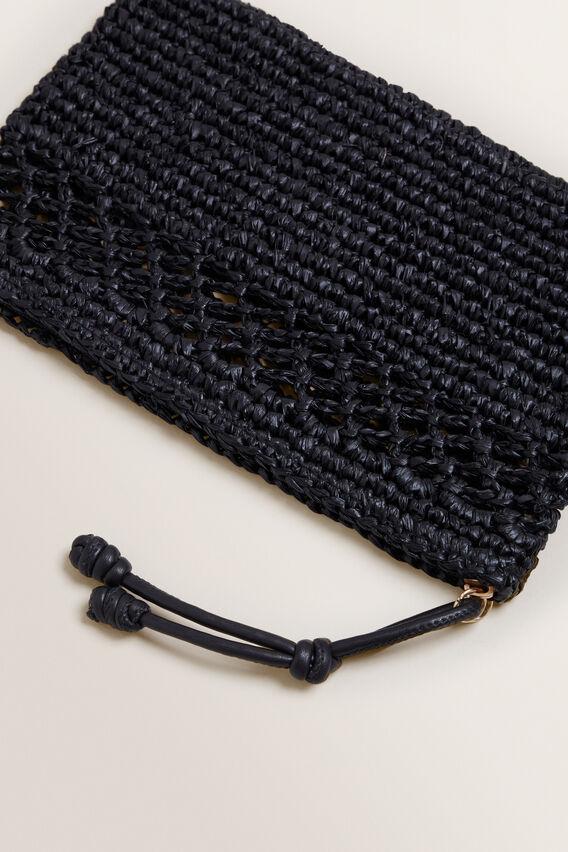 Raffia Weave Pouch  BLACK  hi-res