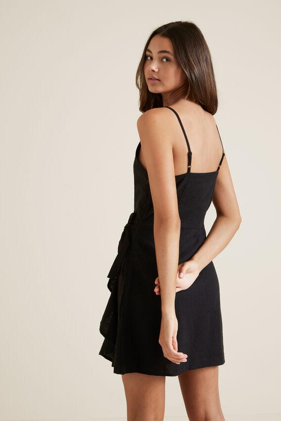 Linen Frill Dress  BLACK  hi-res