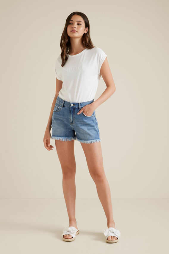 Cut-off Denim Shorts  MID CLASSIC  hi-res