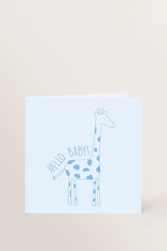 Small Giraffe Hello Baby Card  MULTI  hi-res