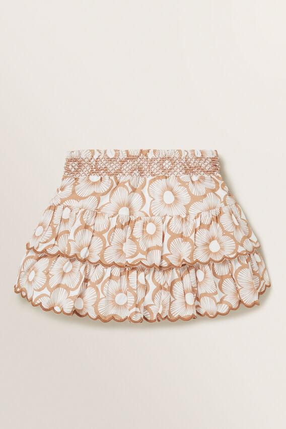 Shirred Floral Skirt  BISCUIT  hi-res