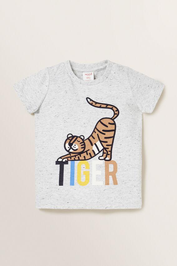 Tiger Print Tee  CLOUDY MARLE  hi-res