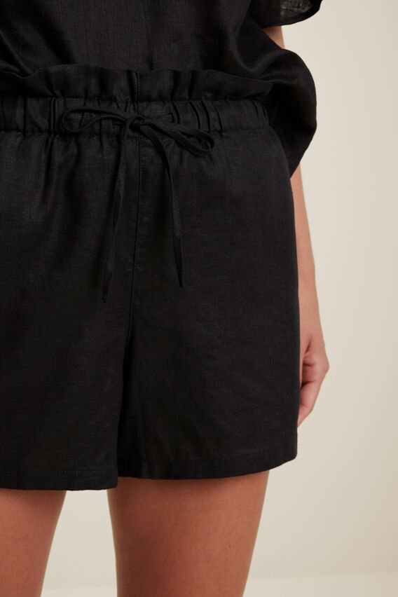 Linen Tie Up Short  BLACK  hi-res