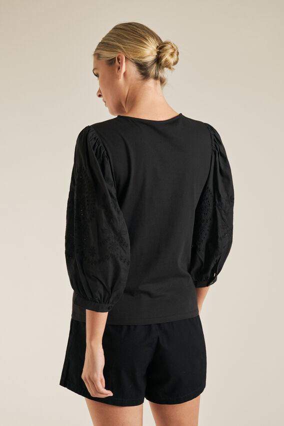 Broderie 3/4 Sleeve Top  BLACK  hi-res