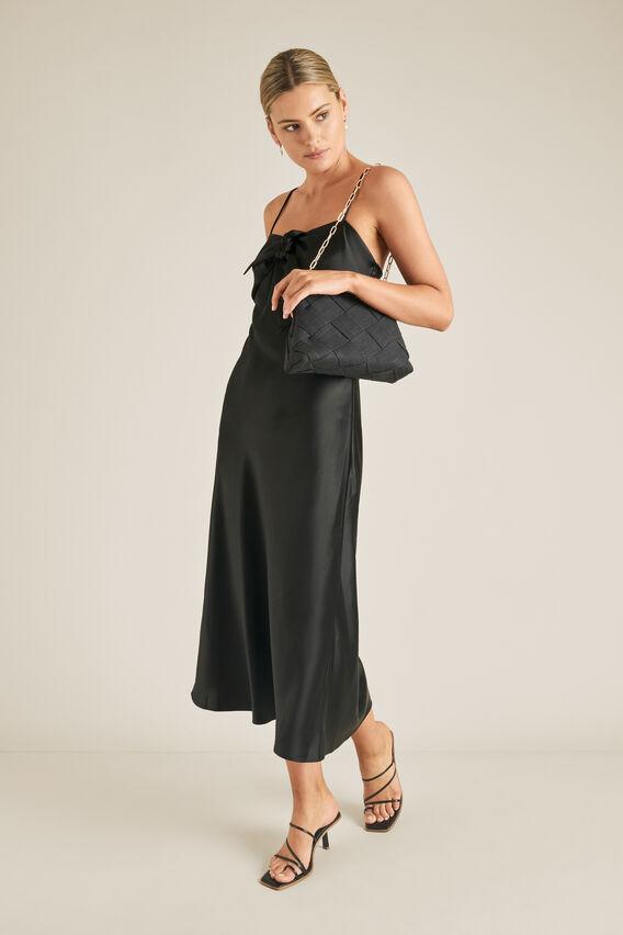 Tie Front Slip Dress  BLACK  hi-res