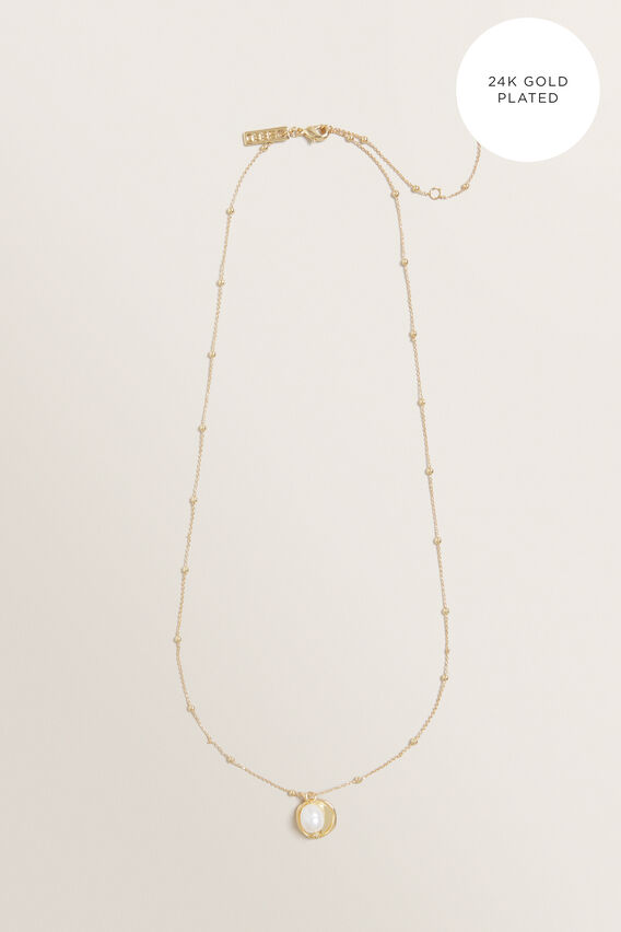 Fine Pearl Pendant Necklace  GOLD  hi-res