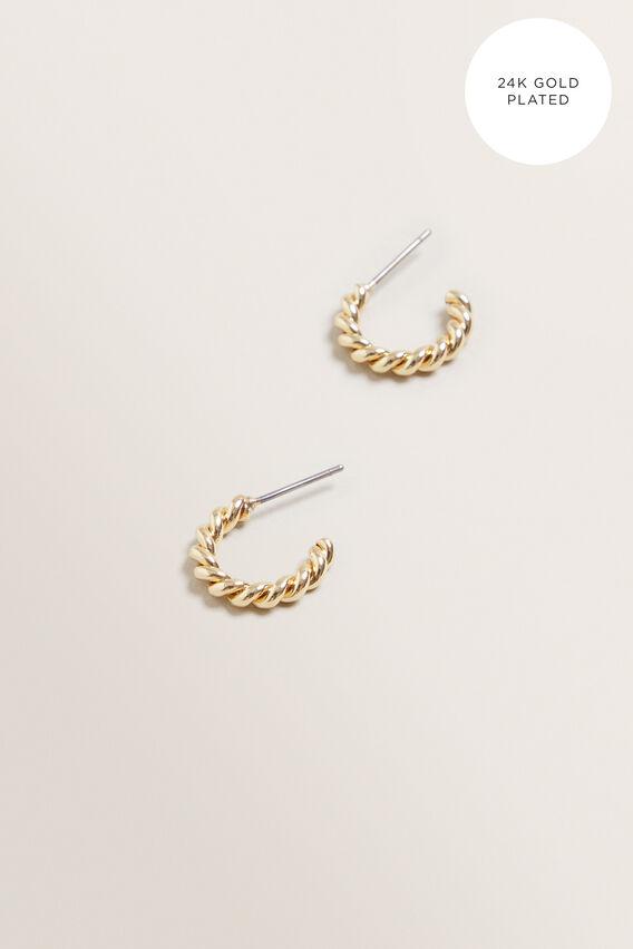 Fine Mini Twisted Hoops  GOLD  hi-res