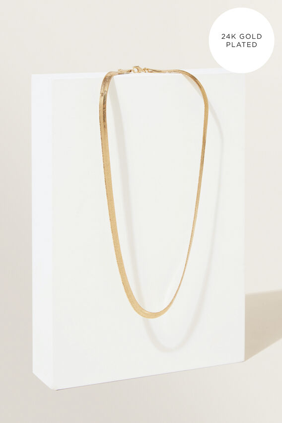 Fine Snake Chain Necklace  GOLD  hi-res