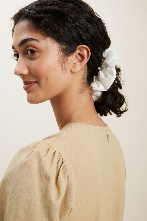 Linen Scrunchie  WHITE  hi-res