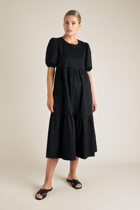 Tiered Midi Dress  BLACK  hi-res