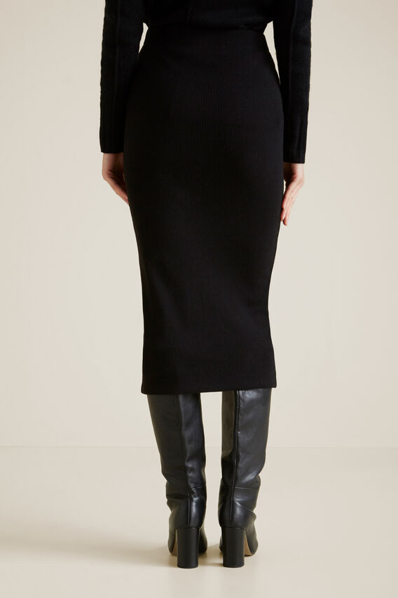 Longline Rib Skirt  BLACK  hi-res