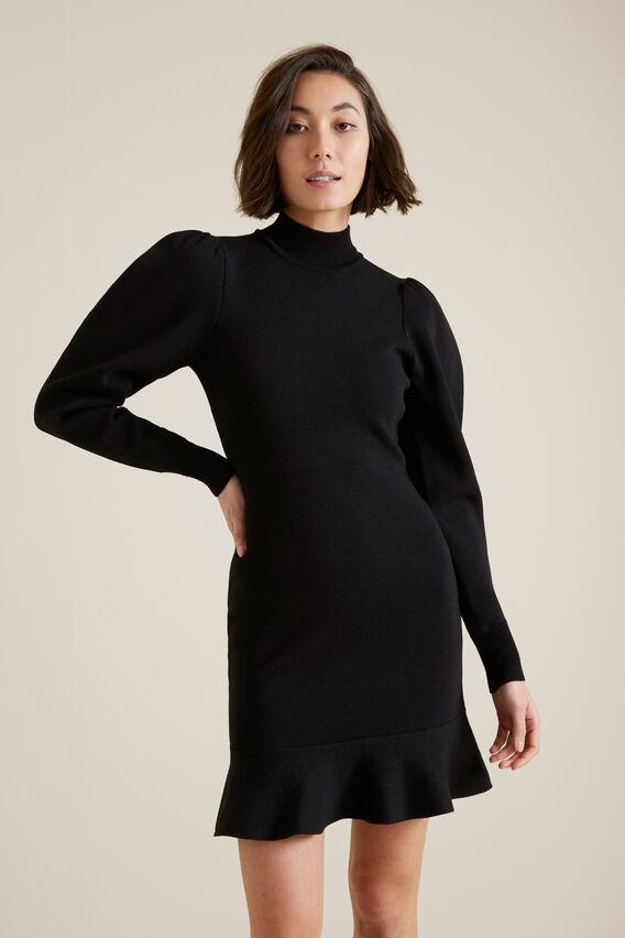 Blouson Sleeve Crepe Dress  BLACK  hi-res