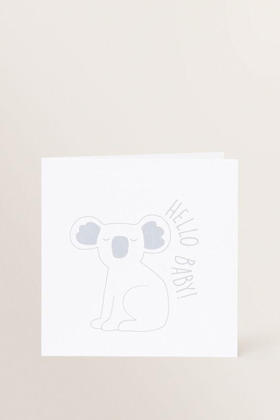 Small Koala Hello Baby Card  MULTI  hi-res