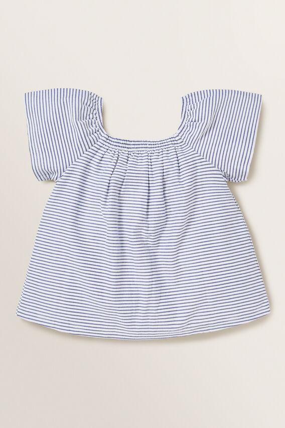 Stripe Button Tee  NAVY  hi-res