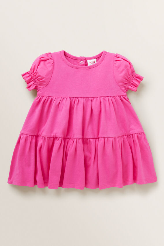 Tiered Jersey Dress  FUCHSIA  hi-res