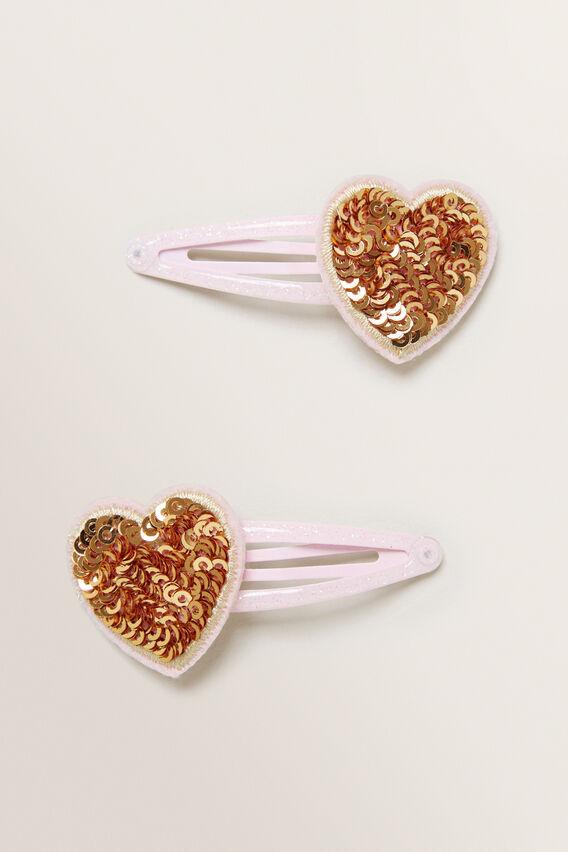 Sequin Heart Snaps  GOLD  hi-res