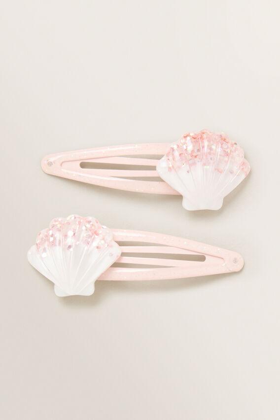 Shell Glitter Snap Pair  PINK  hi-res