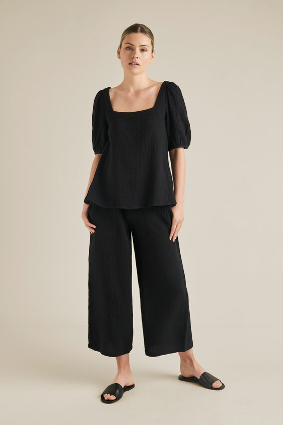 Cheesecloth Blouse  BLACK  hi-res