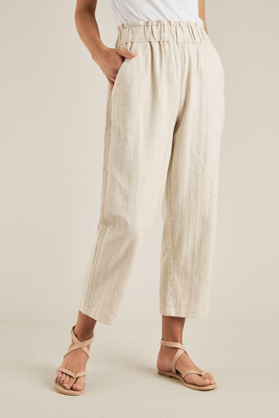 Self Stripe Elastic Pant  SAND BEIGE  hi-res