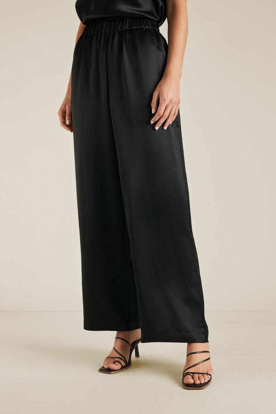 Wide Leg Satin Pant  BLACK  hi-res