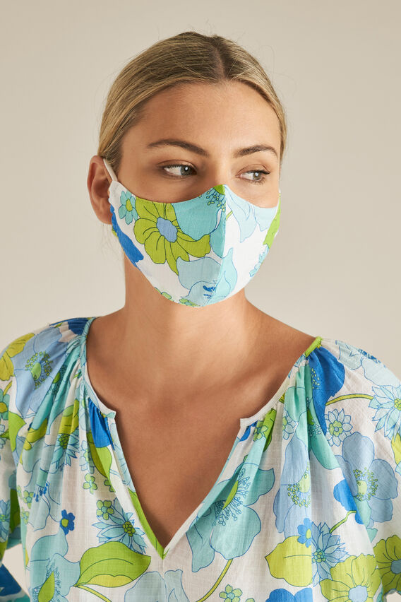 Adjustable Retro Cotton Face Mask  RETRO FLORAL  hi-res