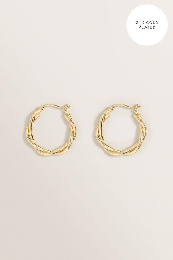Fine Twisted Hoop  GOLD  hi-res