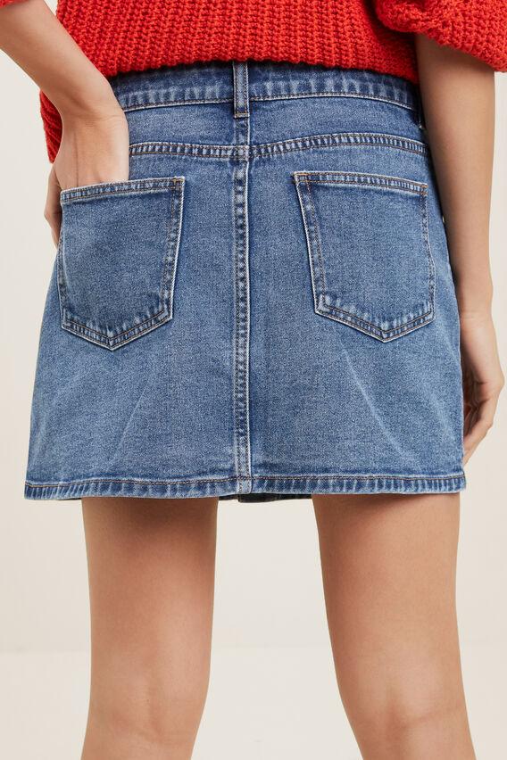Button Denim Skirt  VINTAGE INDIGO  hi-res