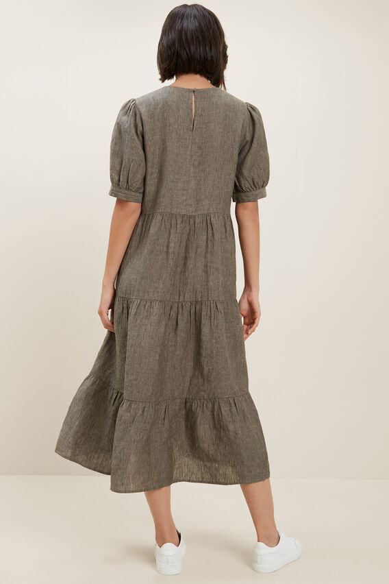 Linen Tiered Midi Dress  OLIVE KHAKI  hi-res