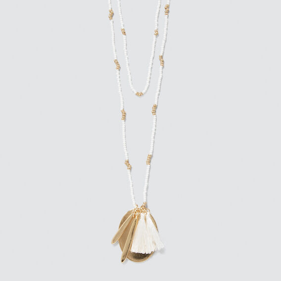 Seed Bead Charm Necklace  WHITE/GOLD  hi-res