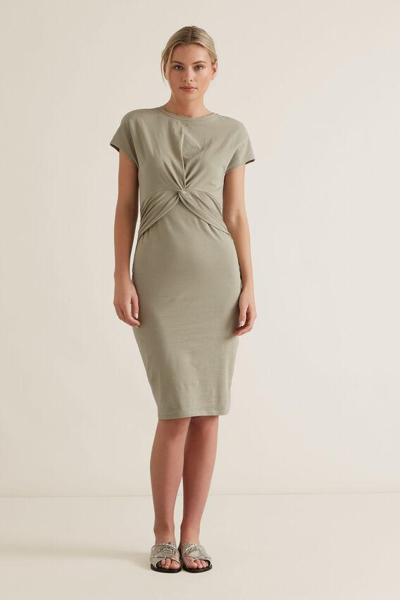 Twist Detail Dress  WASHED OLIVE  hi-res